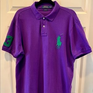 Ralph Lauren custom fit purple men's polo shirt